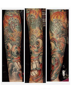 Japanese Mask Tattoo Sleeve