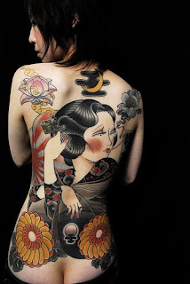 Japanese Geisha Tattoos On The Women Back Piece Tattoo Picture 6