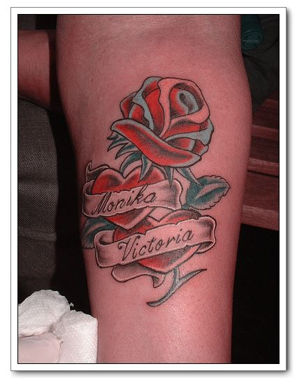 Flower Red Rose Tattoo Designs Combination With Heart Tattoo