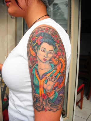 Female Shoulder Tattoo With Japanese Geisha Tattoo Design