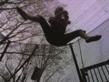 Hill-billy jumping on the trampoline