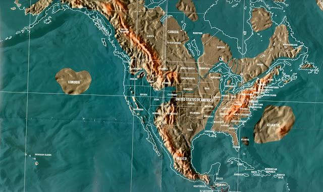 Mapa dos Estados Unidos pós tribulação e tsunami, apocalipse mapas mundo 2036