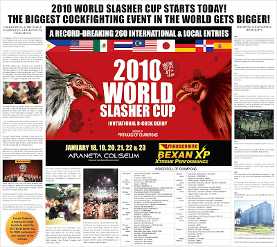 SABONG: PHILIPPINE DAILY INQUIRER - 2010 WORLD SLASHER CUP SUPPLEMENT
