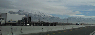Mountains covered with snow on way to Orem, Utah