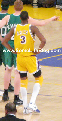Trevor Ariza with his short shorts at Staples Center for Lakers vs. Celtics