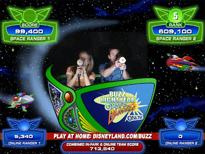 My first time hitting the 100,000 point target on Buzz Lightyear's Astro Blasters