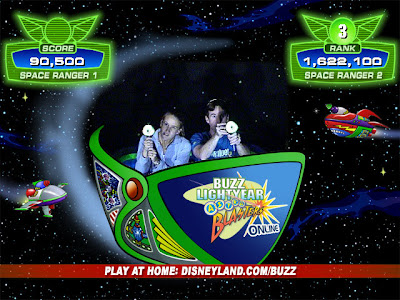 Get a million points and on the high score board for Buzz Lightyear Astro Blasters at Disneyland