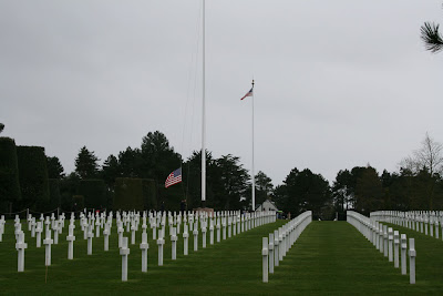 Flag retreat ceremony at the American Military Cemetery.