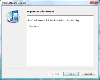 New Apple Updater version 1.2.1 on Apple iPod 20GB upgrade to 60GB hard drive