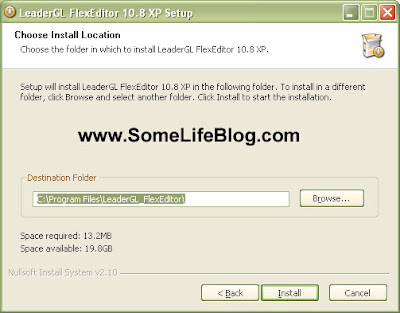 Select the file folder location for LeaderGL FlexEditor 10.8 XP free P2K drivers and software for Motorola V3