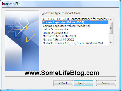 Select file type to import Microsoft Contact from Motorola RAZR V3