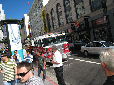 Apple Store Fire Alarm Incident with Arriving Hook and Ladder