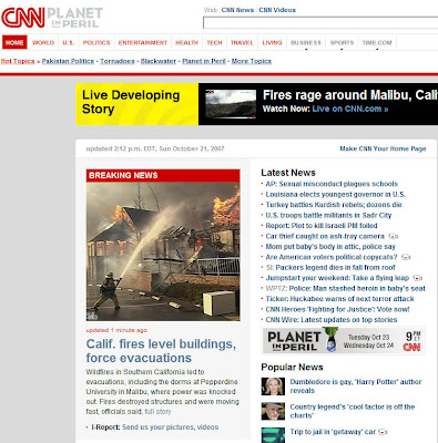 Malibu Presbyterian Church fire on the front page for CNN.com.