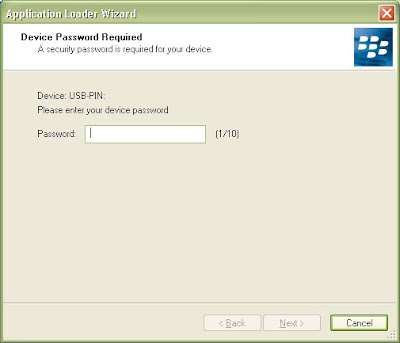 Now enter the PIN or security code in the Application Loader Wizard to continue and click on next.