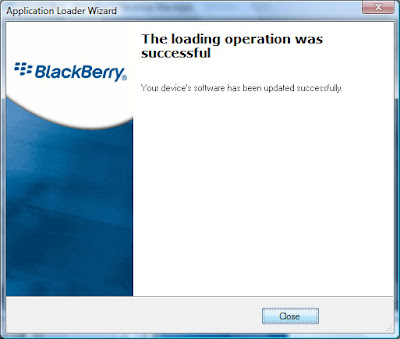 Once the installation is complete, you will be given a message confirming the successful installation.  In some cases, you Blackberry device may reboot itself to complete the installation.  This usually only happens when you uninstall software, but I have seen cases where it happens during the actual installation.  Click on close to complete.