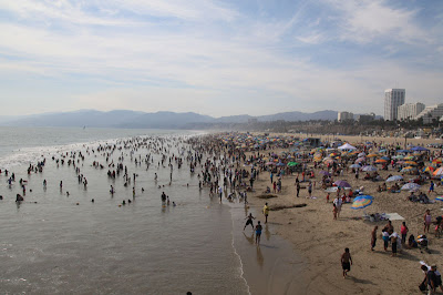 And a ton of people along the beach in Santa Monica for the 4th of July.