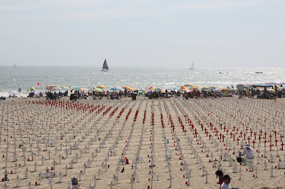 A view of all the crosses -- 4113 of them, to be exact -- from the Santa Monica Pier.