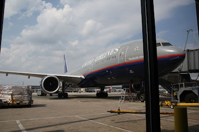 The Boeing 777 jet that will take us from the Washington / Dulles Airport to Rome.