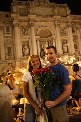 You can always find vendors selling roses walking the squares of Rome after dark.  One found us, took a couple of pictures of us in front of the Trinity Fountain – I handed him a couple of Euros – worth it for capturing the last moment of our evening before taking a cab back to the hotel.