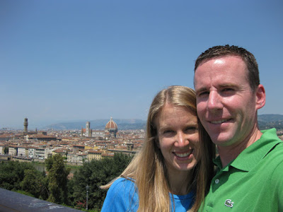 A must take self-shot photo of Ashley and I from the Pizzale Michelangelo with Il Duomo in the background.