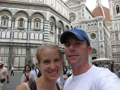 Ashley and I pose for a quick traditional self-view photo in front of Il Duomo Firenze.