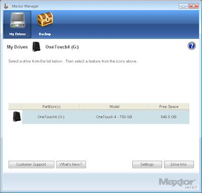 Maxtor Manager Software upgrade for the One Touch 4 Hard Drive backup system