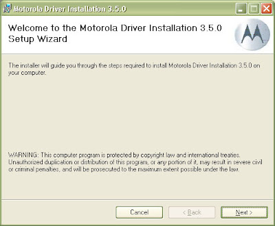 Installing the USB Driver for the Motorola RAZR for the v3.5.0.  Simply click next.