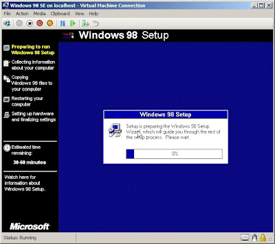 Installing a Windows 98 SE virtual machine on Microsoft Windows 2008 Hyper-V