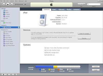 Play iPod through your PC: Click on your iPod under devices and make sure that every option is unchecked.