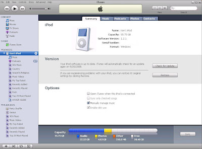 Play iPod through your PC: Now check the Manually manage music checkbox which will automicatically check the Enable disk use check box and click Apply.