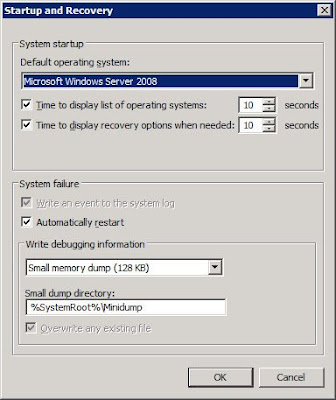 Startup and Recovery Settings from running Hyper-V and VMWare 2.0 Server