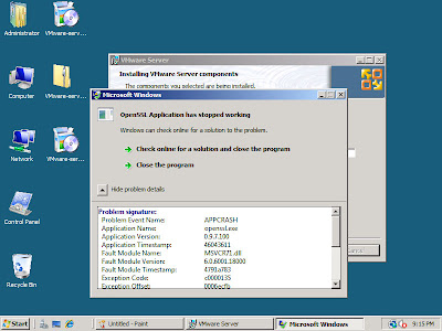 Windows Server 2008 Standard and VMWare Server 1.0.7 Incompatible: OpenSSL (openssl.exe) crashes at MSVCR71.dll again