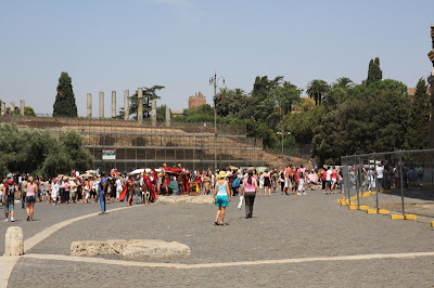 When we arrived at the Coliseum, there was a snaking line to get in due to one of the metal detectors being shut down.  A great tip we found was there are some tour guides that will add you to their group for just 10 euros and give you a guided tour of both the Coliseum and the Ancient ruins.  We joined a group and dropped our wait time from 1 hour to 5 minutes.  Small price to pay with a limited time in a city!
