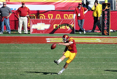 David Buehler kicks off the ball for a touchback against Arizona state with the Mario Danelo tribute padding on the goalpost.