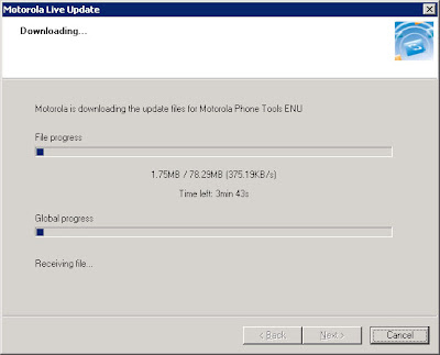 Motorola Phone Tools (MPT) V5 Upgrade 2: Downloading the V5 upgrade.