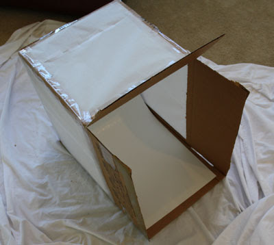 Cheap Macro Studio Light Box / Tent:After completing the tracing paper paneling, I cut the white posterboard to 18