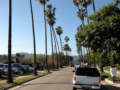 After the parade was over due to roads being shut, it took about two hours to get to the Rose Bowl.  One hour to get out of downtown Pasadena and then another hour sitting in traffic to get into the Rose Bowl -- pictured here.