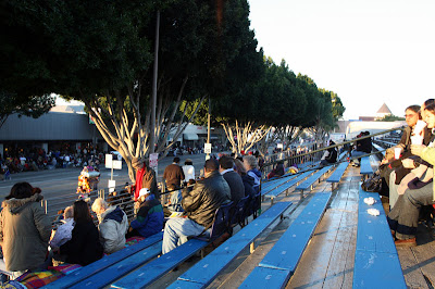 Bright and early at our spot in the grandstands on Colorado and Sierra Madre for the parade.  We're both pretty excited and this is my first Rose Parade, the 120th!