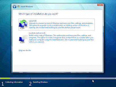 Oddly, Windows 7 gives me the upgrade option here after loading from the ISO at boot.  I know that there is no Operating System on the VMWare Virtual Server, so I choose the custom option.