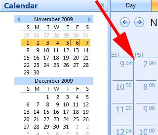 Timezone offset for multiple time zone view in Microsoft Outlook 2000, XP, 2003, 2007 off for DST