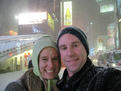 Some Times Square Fun in the Blizzard conditions. After watching South Pacific we grabbed some late night snacks at Maxie's, we stumbled across the beginning of a snowball fight in Times Square which has been a social media wonder. Not only is there an iReport on CNN, but also a Facebook group has been created.