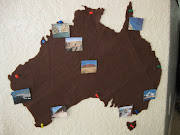 This is a felt map of Australia that I cut out.