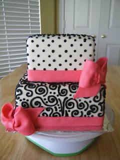 black scrolls and pink bridal shower cake