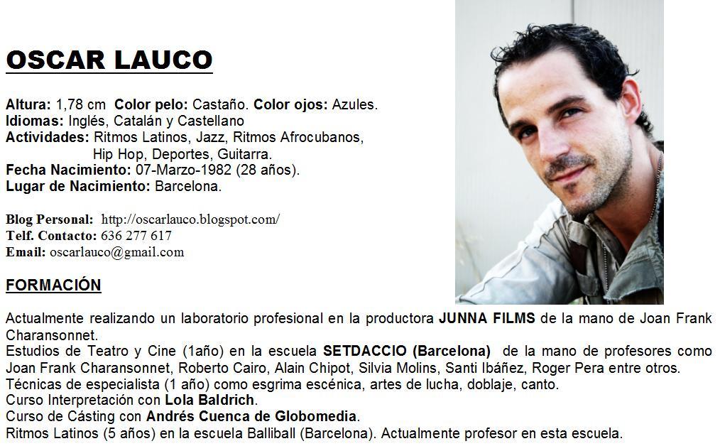 Oscar Lauco - Actor: CURRICULUM