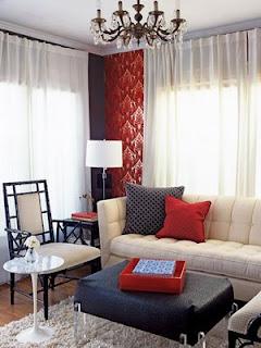 Ideias de decoração mobiliario | Sala de estar vermelha