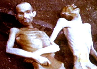 Starving men in Nazi concentration camp during World War 2