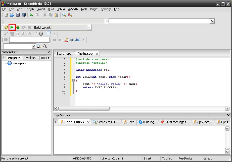 how to run program in code blocks
