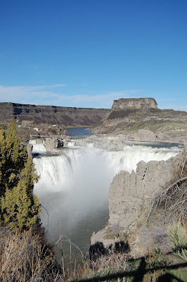Between a rock and a hardplace.  Shoshone Falls.