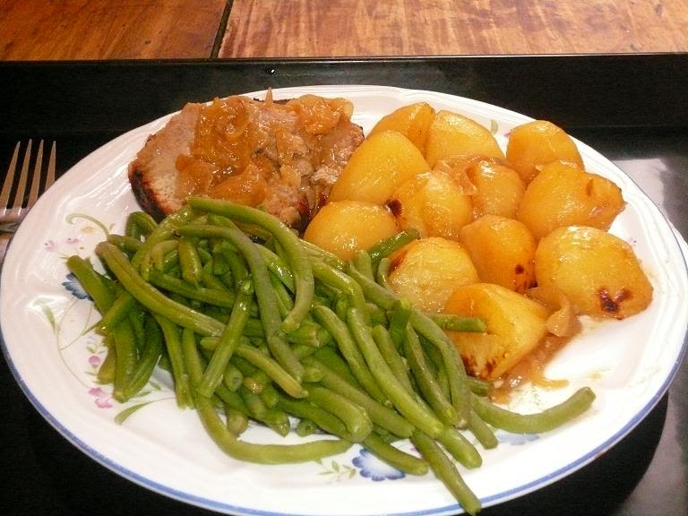 Mal ne aux fourneaux roti de porc au miel et la moutarde et son accompagnement 5 5fp 11 5pts - Cote de porc a la moutarde au four ...