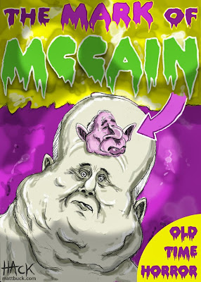 Cartoon caricature of John McCain's campaign for the Presidency of the United States - also with George Bush and BBrack Obama. Made by Matt Buck Hack Cartoons.com